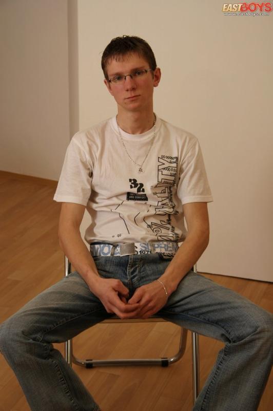 Teen boy twink in school dress hot pee on